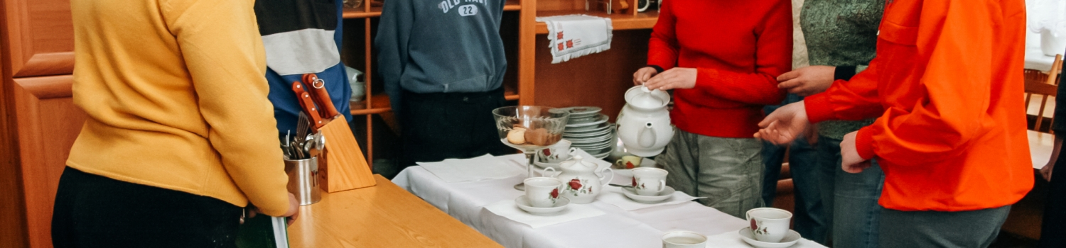 Developmentally disabled people learning home economics
